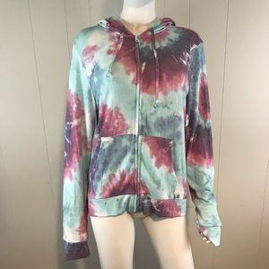 VS PINK Tie Dye Large Zip Hoodie Light Sweatshirt